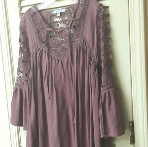 Red Maroon Boho Flowy dress Sz S She + Sky